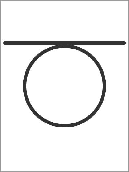 丸の上に線
